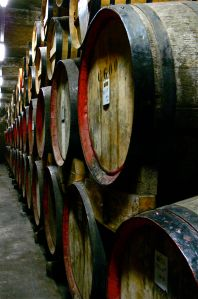 Casks with aging calvados.