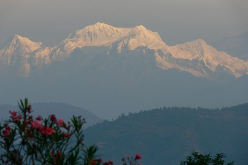 The Himalayan view from Glenburn Tea Estate.