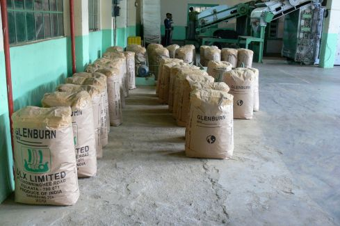 Bags of tea for export at Glenburn.