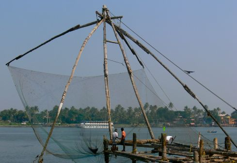 Famous Chinese fishing nets in Kochi.
