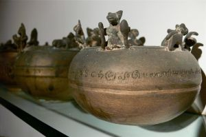 Ash pots in the museum on Vaamika Island.